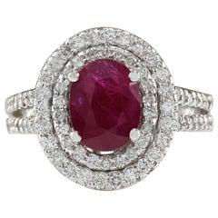 3.44 Carat Natural Ruby 18 Karat White Gold Diamond Ring