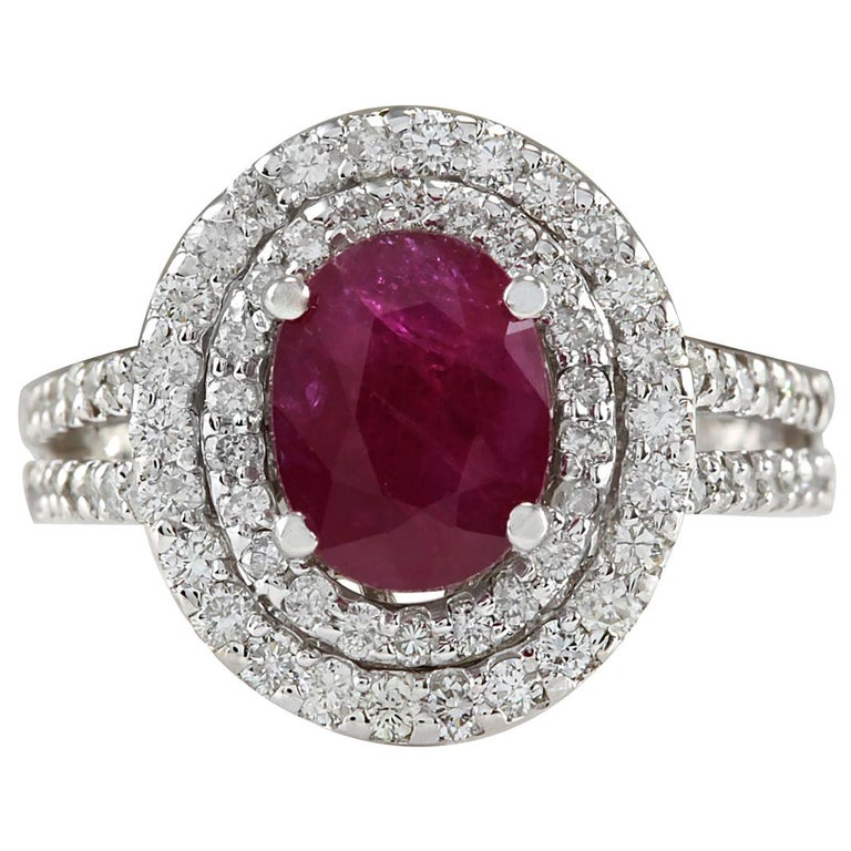 3.44 Carat Natural Ruby 18 Karat White Gold Diamond Ring For Sale
