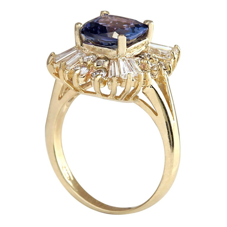 3.44 Carat Natural Tanzanite 18 Karat Yellow Gold Diamond Ring In New Condition For Sale In Los Angeles, CA