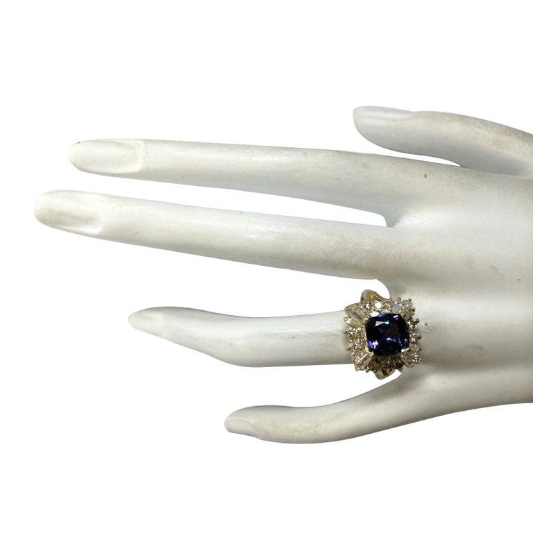 Women's 3.44 Carat Natural Tanzanite 18 Karat Yellow Gold Diamond Ring For Sale