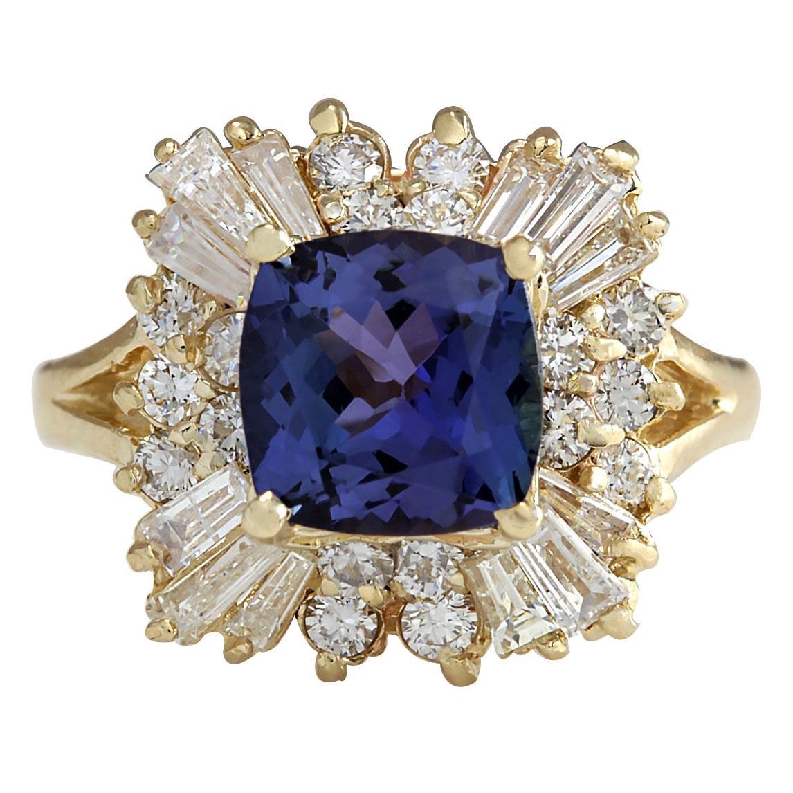 3.44 Carat Natural Tanzanite 18 Karat Yellow Gold Diamond Ring