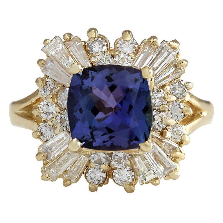 3.44 Carat Natural Tanzanite 18 Karat Yellow Gold Diamond Ring For Sale