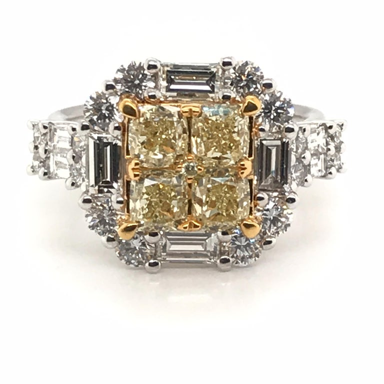 HJN Inc. Ring featuring a 3.44 Carat Natural Yellow Diamond Princess Cluster with Round Diamonds Ring.  Natural Yellow Diamond Weight: 1.73 Carats Round-Cut Diamond Weight: 0.80 Carats Baguette-Cut Diamond Weight: 0.91 Carats  Total Stones: