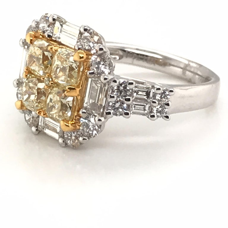 Modern 3.44 Carat Natural Yellow Diamond Princess Cluster Diamond Ring For Sale