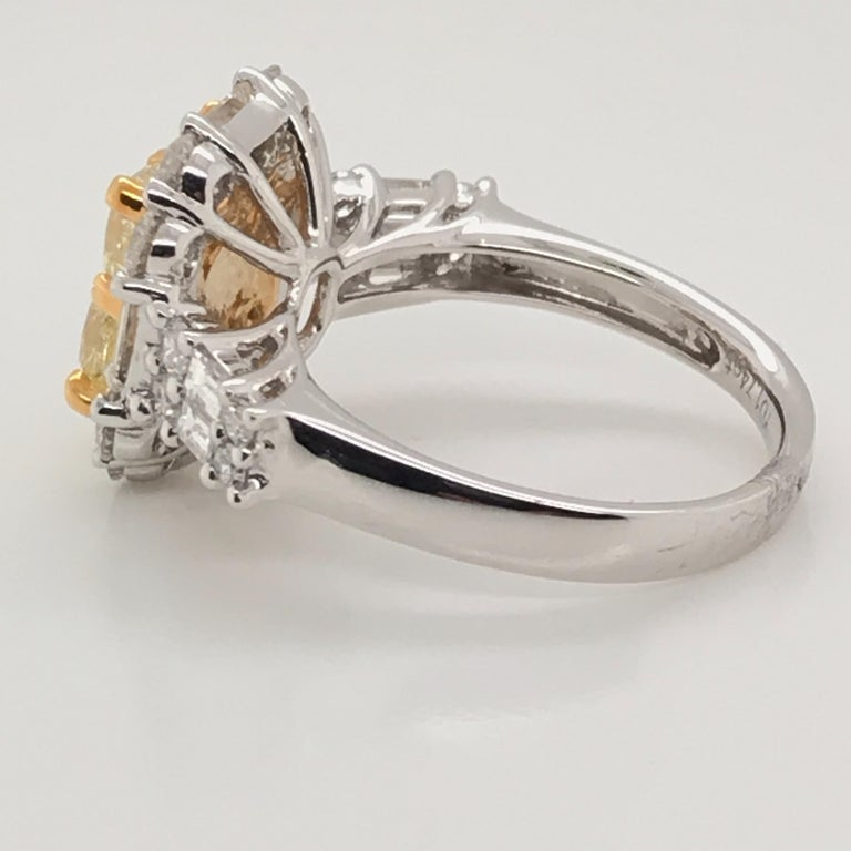 3.44 Carat Natural Yellow Diamond Princess Cluster Diamond Ring In New Condition For Sale In New York, NY
