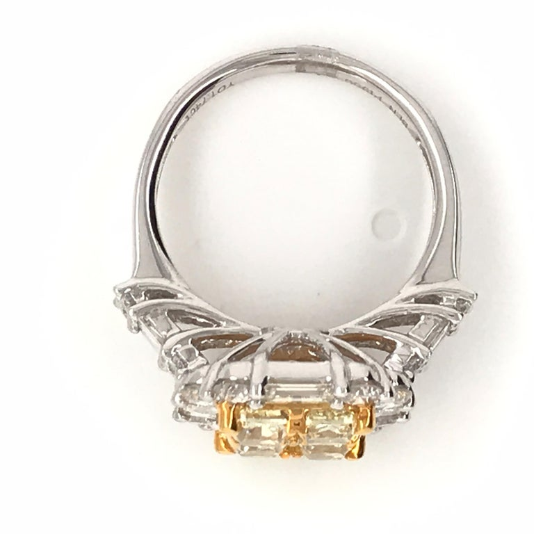Women's 3.44 Carat Natural Yellow Diamond Princess Cluster Diamond Ring For Sale