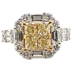 3.44 Carat Natural Yellow Diamond Princess Cluster Diamond Ring