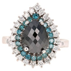 3.44 Carat Pear Cut Black Diamond White Gold Bridal Ring