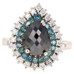 3.44 Carat Pear Cut Black Diamond White Gold Bridal Ring