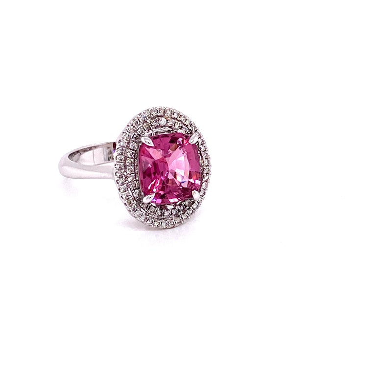 Contemporary 3.44 Carat Unheated Burmese Pink Spinel and White Diamond Gold Engagement Ring
