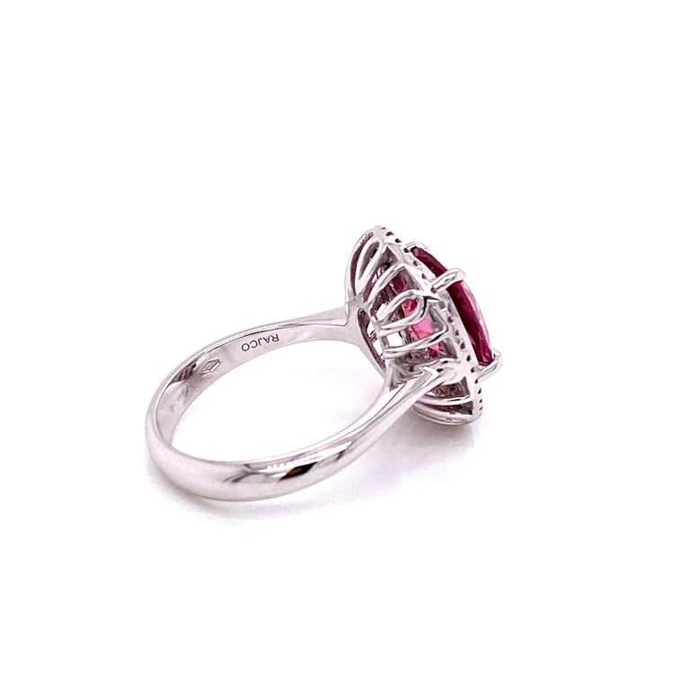 Cushion Cut 3.44 Carat Unheated Burmese Pink Spinel and White Diamond Gold Engagement Ring