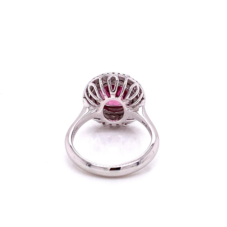 3.44 Carat Unheated Burmese Pink Spinel and White Diamond Gold Engagement Ring In New Condition In Hong Kong, HK