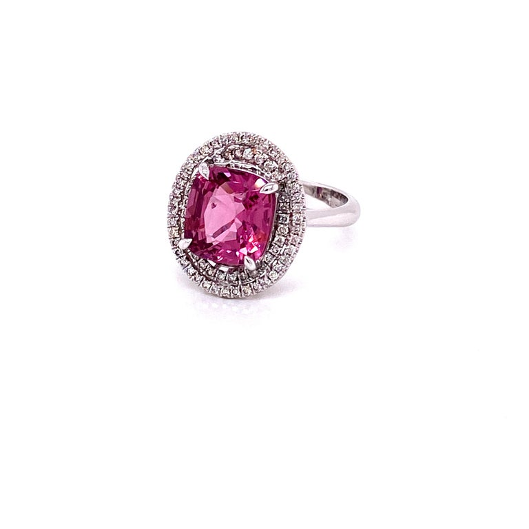 3.44 Carat Unheated Burmese Pink Spinel and White Diamond Gold Engagement Ring 1