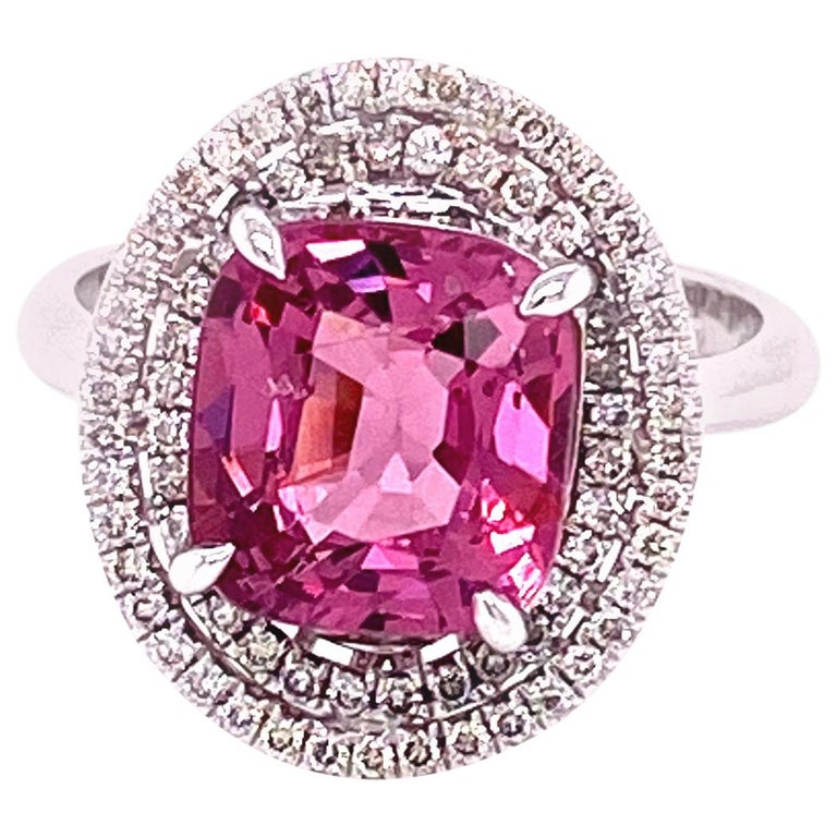 3.44 Carat Unheated Burmese Pink Spinel and White Diamond Gold Engagement Ring