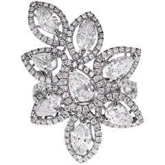 3.44 Carat White Diamond Shapes Designer Engagement Ring