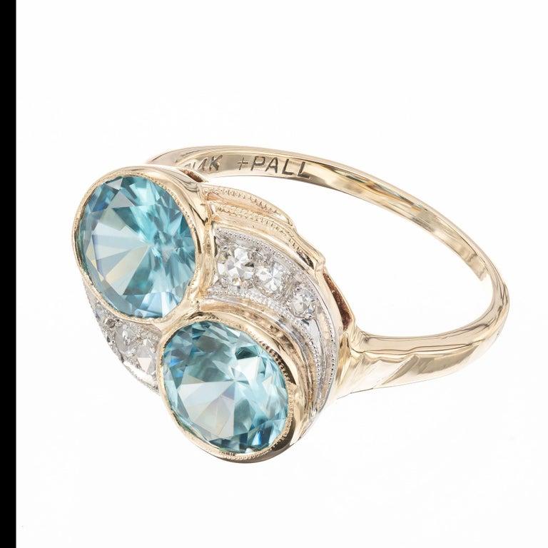 Round Cut 3.44 Carat Zircon Diamond Yellow Gold Palladium Vintage Bypass Ring