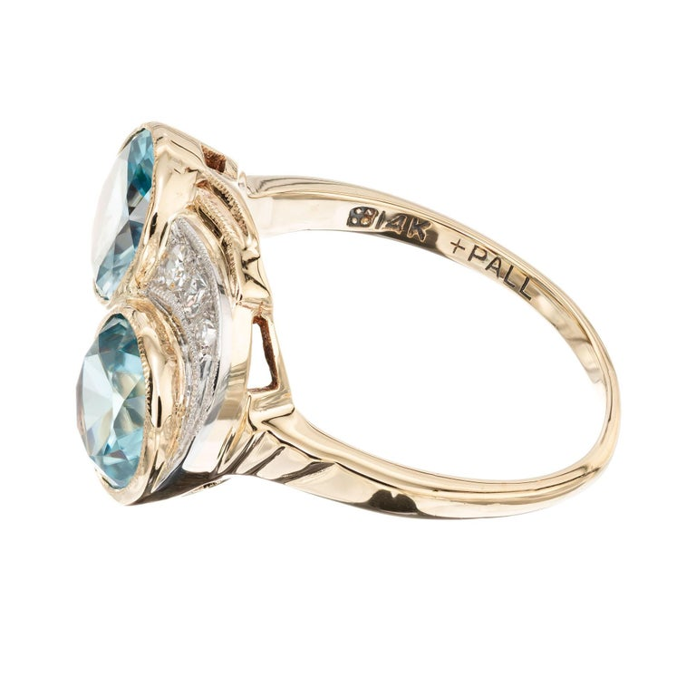 3.44 Carat Zircon Diamond Yellow Gold Palladium Vintage Bypass Ring In Good Condition In Stamford, CT