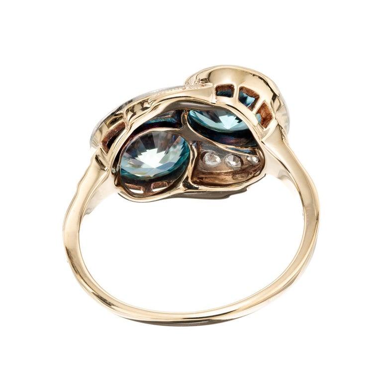 Women's 3.44 Carat Zircon Diamond Yellow Gold Palladium Vintage Bypass Ring