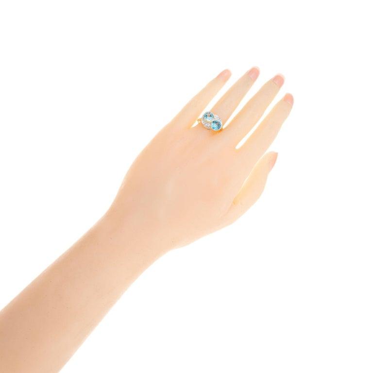 3.44 Carat Zircon Diamond Yellow Gold Palladium Vintage Bypass Ring 2