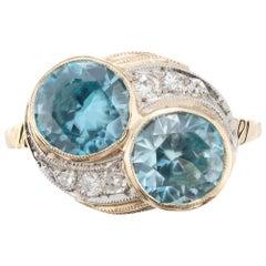 3.44 Carat Zircon Diamond Yellow Gold Palladium Vintage Bypass Ring