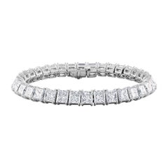 34.40 Carat Princess Cut Diamonds Set in Platinum Tennis Bracelet