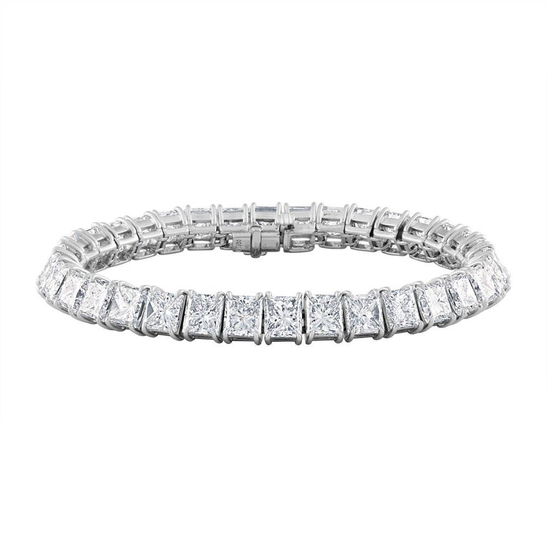 34.40 Carat Princess Cut Diamonds Set in Platinum Tennis Bracelet For Sale