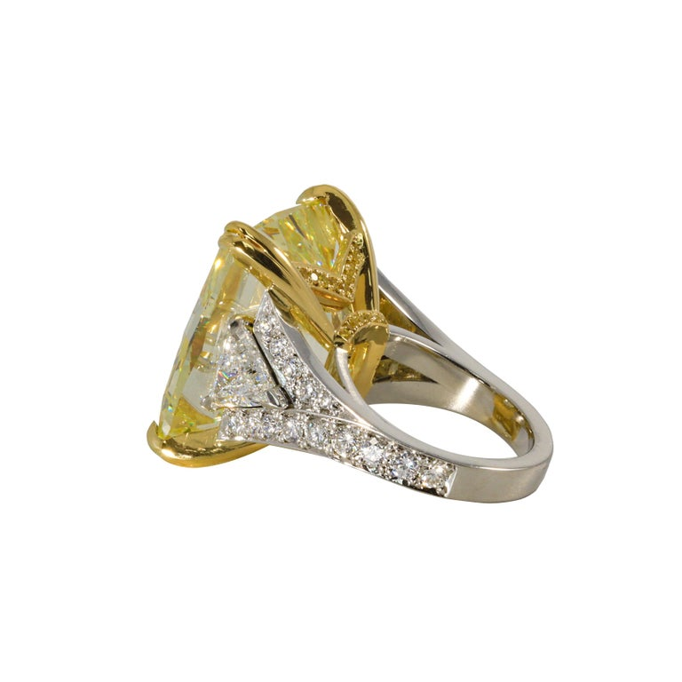 34.46 Carat Fancy Intense Yellow VS2 Radiant Cut Diamond Ring In New Condition For Sale In New York, NY