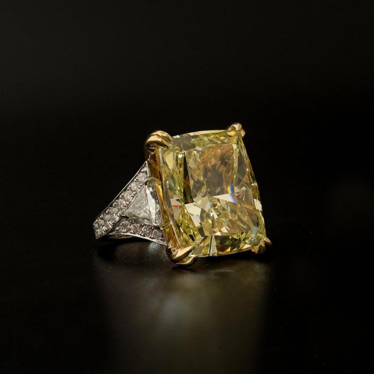 34.46 Carat Fancy Intense Yellow VS2 Radiant Cut Diamond Ring For Sale 1