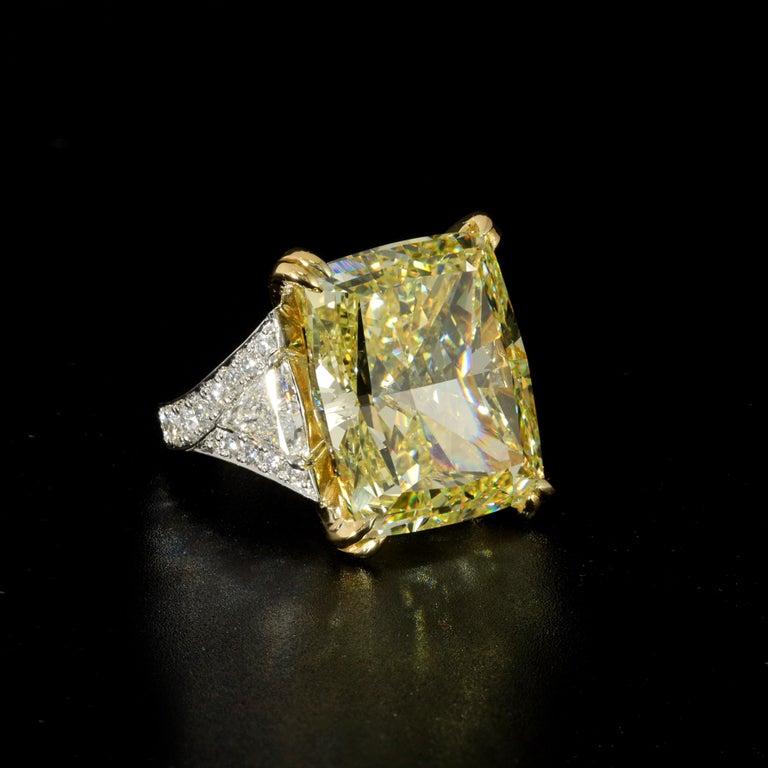 34.46 Carat Fancy Intense Yellow VS2 Radiant Cut Diamond Ring For Sale 2