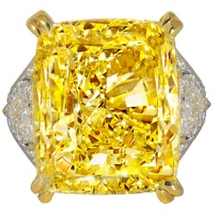34.46 Carat Fancy Intense Yellow VS2 Radiant Cut Diamond Ring