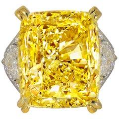 34.46 Carat Fancy Intense Yellow VS2 Radiant Cut Diamond Ring