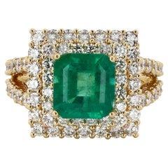 3.44ct Emerald and 2.06ctw Diamond 18k Yellow Gold Ring