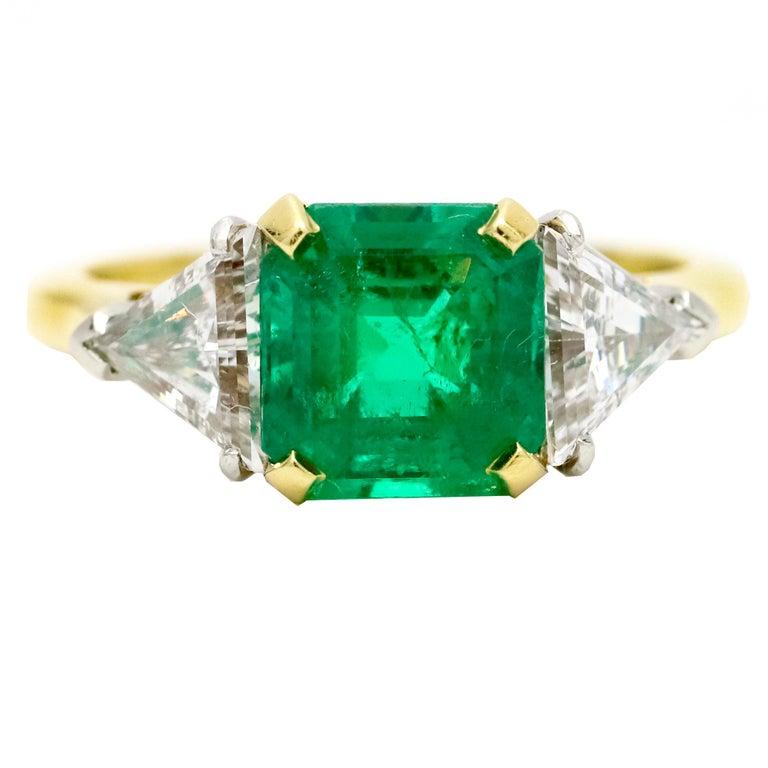 Emerald Cut 3.45 Carat 18 Karat Gold Platinum Emerald Diamond Three-Stone Ring For Sale