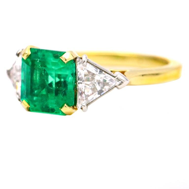 Women's 3.45 Carat 18 Karat Gold Platinum Emerald Diamond Three-Stone Ring For Sale