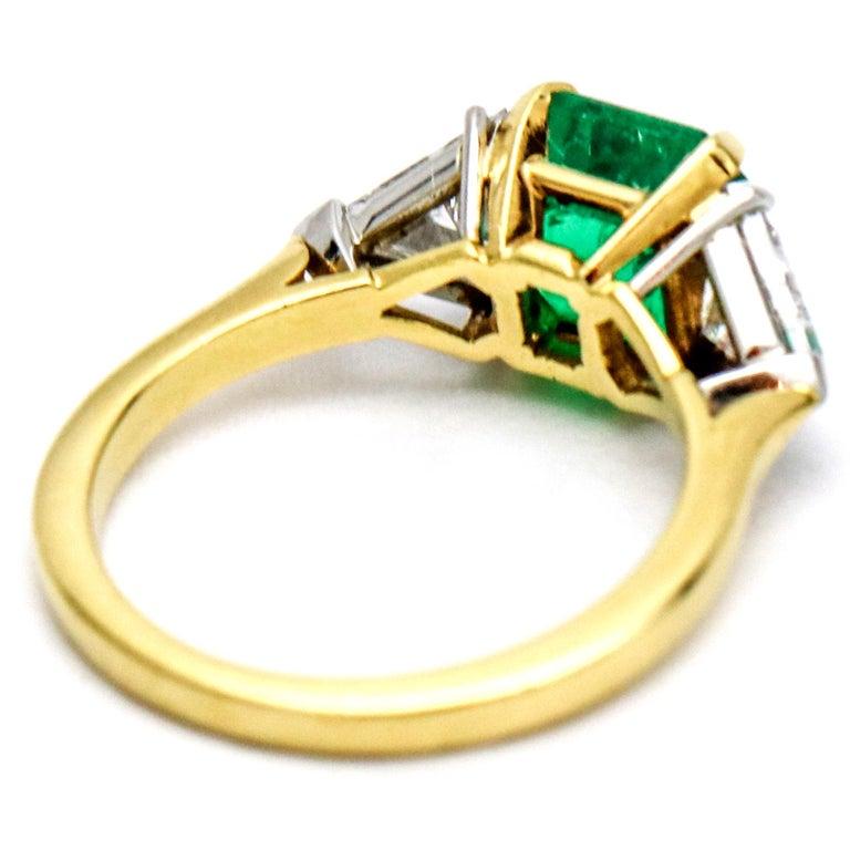 3.45 Carat 18 Karat Gold Platinum Emerald Diamond Three-Stone Ring For Sale 2