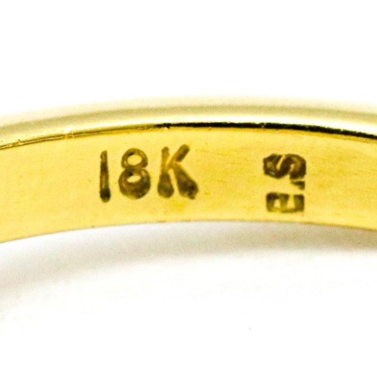 3.45 Carat 18 Karat Gold Platinum Emerald Diamond Three-Stone Ring For Sale 4