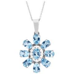 3.45 Carat Aquamarine and Diamond Flower Pendant