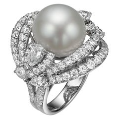 3.45 Carat Diamond and South Sea Pearl 18 Karat White Gold Cocktail Ring