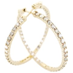3.45 Carat Diamond Hoops Earrings 14 Karat Yellow Gold