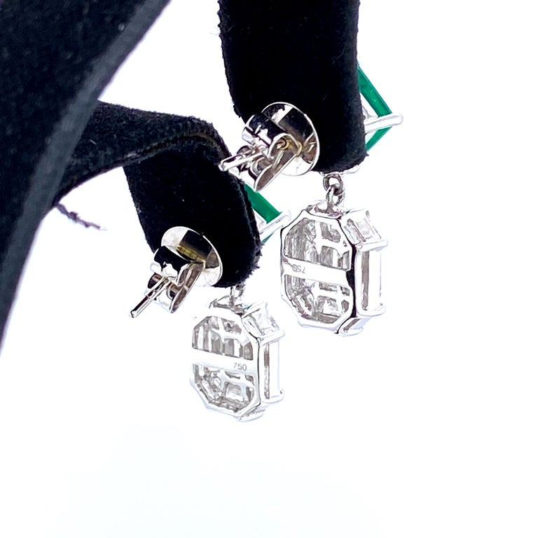 Square Cut 3.45 Carat Emerald and White Diamond Gold Earrings For Sale