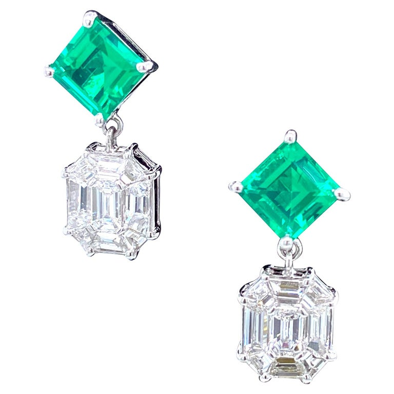 3.45 Carat Emerald and White Diamond Gold Earrings For Sale
