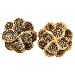 3.45 Carat Fancy Chocolate and White Diamond Flower Earrings 18 Karat Rose Gold