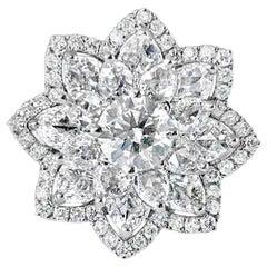 3.45 Carat Flower Ring with Rose Cut Round Brilliant Diamonds, 18 Karat Gold
