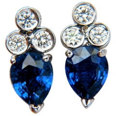 3.45 Carat Natural Sapphire Diamonds Cluster Stud Earrings 14 Karat Vivid Blue