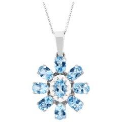 3.45 Carat Oval Aquamarine and White Diamond Flower Pendant 14 Karat Gold