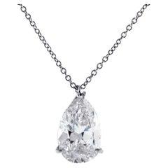 3.45 Carat Pear-Cut Golconda Diamond Pendant Necklace