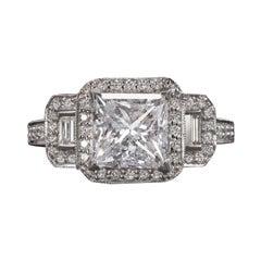 3,45 Carat Princess Shape Diamond Engagement Gold Ring
