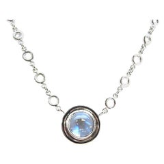 3.45 ct. Rainbow Moonstone, Bezel Set 18k White Gold Handmade Pendant Necklace