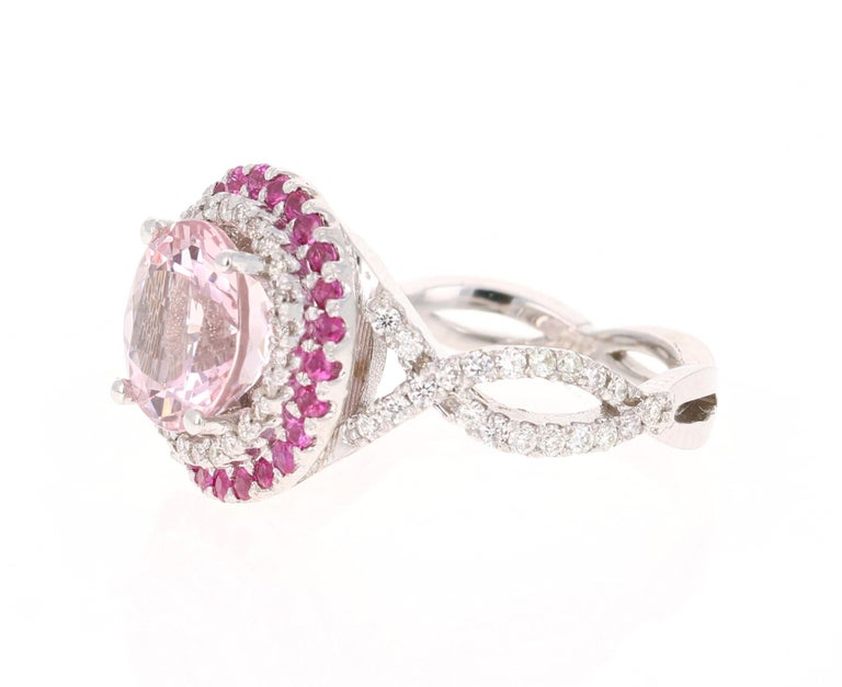 Modern 3.45 Carat Pink Morganite, Pink Sapphire and Diamond White Gold Engagement Ring For Sale