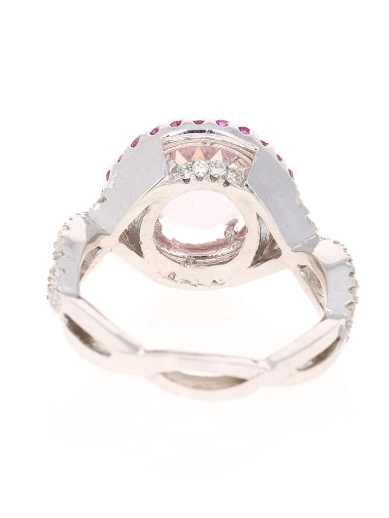 Round Cut 3.45 Carat Pink Morganite, Pink Sapphire and Diamond White Gold Engagement Ring For Sale